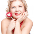 Blonde woman with lollipop — Stock Photo #9348316