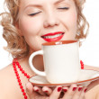 Blonde woman with cup — Stok fotoğraf