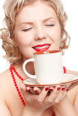 Blonde woman with cup — Stock Photo