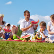 Family picnic in park - Stockfoto