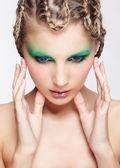Woman with creative hairdo — Stock Photo