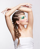 Woman with creative hairdo — Stock Photo