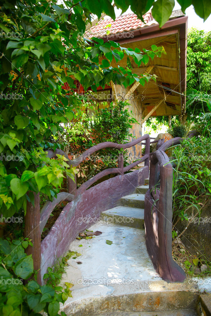 Stairs to the wooden Thai house in Phuket — Stock Photo #9484270
