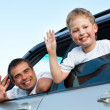 Foto Stock: Family in car