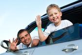 Rodina v autě — Stock fotografie