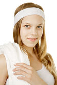 Girl with white towel — Stock Photo