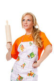Housewife with rolling pin — Stock Photo