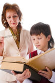 Schoolboy and teacher — Foto Stock