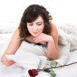 Woman reading letter — Stock Photo #8695273