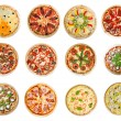 Twelve different pizzas — Zdjęcie stockowe