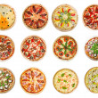 Twelve different pizzas — Stockfoto #9086870
