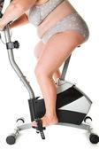 Fat woman fitness — Stock Photo