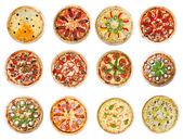 двенадцать различных пицц — Стоковое фото