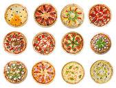 Zwölf verschiedene pizzen — Stockfoto