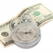 Stopwatch with dollar bill isolated — Stock Photo
