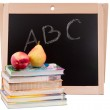 School board with books isolated — Stock Photo