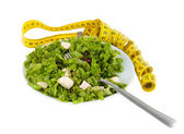 Salad with feta cheese and olives and lettuce — Stock Photo