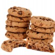 Pile of chocolate chip cookies isolated — Stock Photo