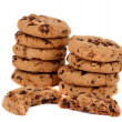 Pile of chocolate chip cookies isolated — Stock Photo #9738119