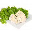Blue cheese with lettuce on a plate — Stock Photo