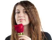 Girl with rose isolated — Stock Photo