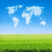 Champ d'herbe avec le monde en forme de nuages — Photo