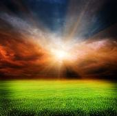 Cielo de la noche oscura y campo verde — Foto de Stock