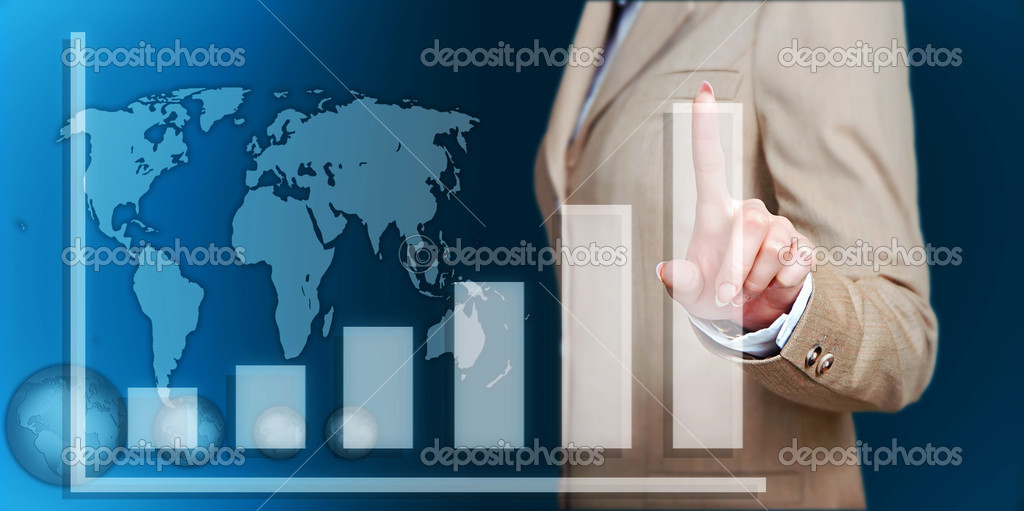 Business woman hand touch virtual graph,chart, diagram over blue background — Stock Photo #10729350