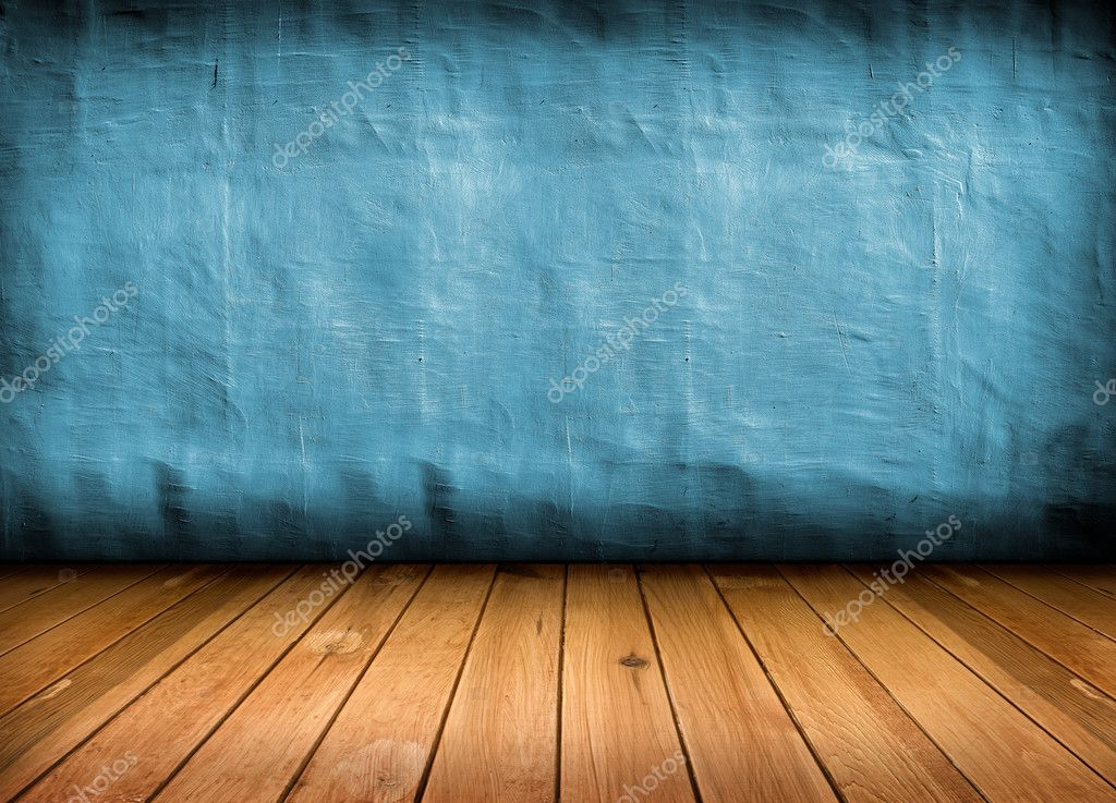 Dark vintage blue room with wooden floor and artistic shadows added — Stock Photo #8088689
