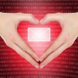 Female hands in shape of a heart holding valentine's e-mail mess — Stock Photo