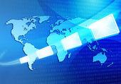 E-posta mesajı internet üzerinden seyahat dünya haritası — Stok fotoğraf