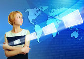 Woman over world map sending email message via internet — Stock Photo