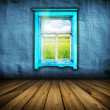 Dark vintage blue room with wooden floor and window with field a — Stock Photo