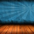 Dark vintage blue room with wooden floor and artistic shadows ad — Stock Photo
