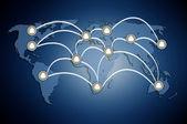 Menselijke modellen met elkaar verbonden in een sociaal netwerk patroon — Stockfoto