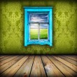 Green room with window with field and sky above it — Foto de Stock