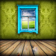 Green room with window with field and sky above it — Stock Photo