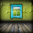 Dark vintage green room with window with field and sky above it — Stock Photo