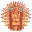 Vector tattoo with indian face - Stock Vector