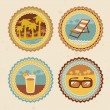 Abstract logo - retro labels with summer icons — Stock Vector