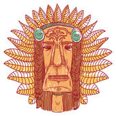 Vector tattoo with indian face — Vecteur