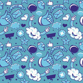 Cool seamless pattern with social media icons — Stock Vector