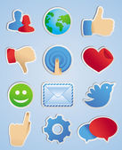 Vector stickers with social media icons — Stock Vector
