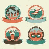 Abstracte logo - retro etiketten met zomer pictogrammen — Stockvector