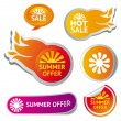 Stock Vector: Set of hot summer sale stickers