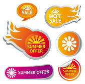 Set of hot summer sale stickers — Stock Vector