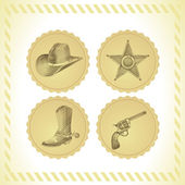 Vector cowboy icon set — Stock Vector