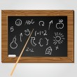 School black board with pictures - Stock Vector