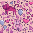Seamless pattern with cats in love — Imagen vectorial