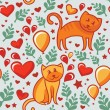 Seamless pattern with cats in love — Vector de stock